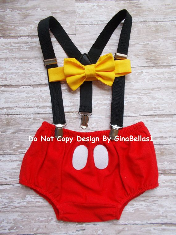 Mickey Mouse Birthday cake smash outfit FREE EARS Suspenders diaper Cover yellow…