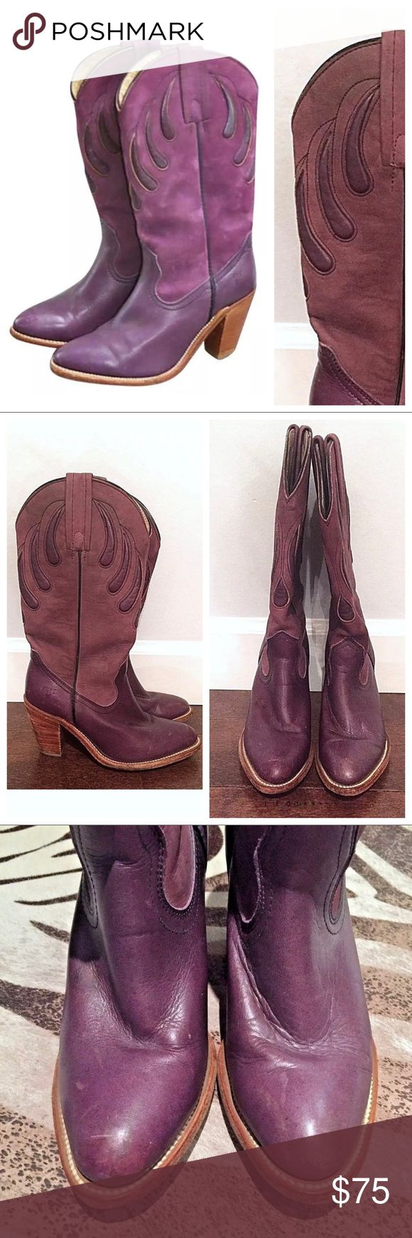 Vintage FRYE Purple Sugar Plum Heeled Cowboy Boots Rare Vintage Frye Boots Purple Leather & Nubuck High Heels   Complete your wardrobe with these vintage purple Frye boots! Soft comfy leather boot, done in a two tone purple. Bear claw western design done on the upper half of each boot. leather cording lines the center of each side of both boots. Leather sole. Three and a half inch stacked wooden heel.  Size: 5.5  Good used condition. Some nicks and scratches. One toe has been touched up with…