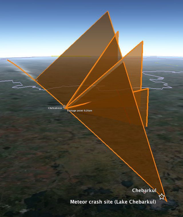 Reconstructing the Chelyabinsk meteor's path, with Google Earth, YouTube and high-school math