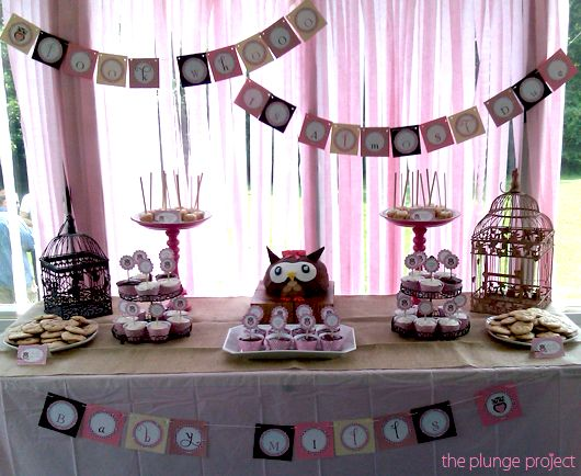 Owl baby showerOwl Baby Showers, Dining Room, Shower Haha Alysia, Shower Banners, Owls Shower, Shower Tables, Shower Setup, Shower Printables, Baby Shower Haha
