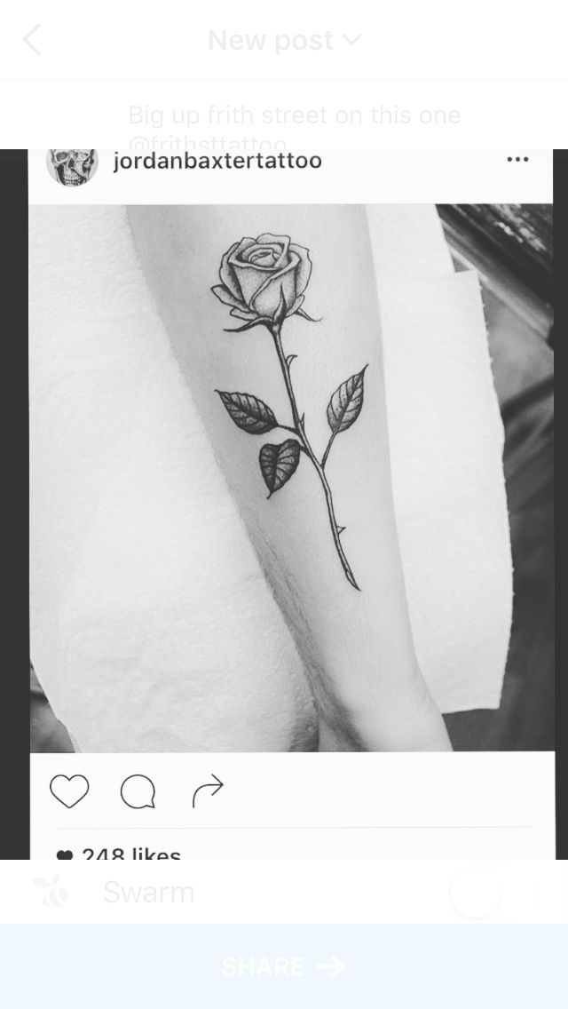 Flower rose tattoo stem