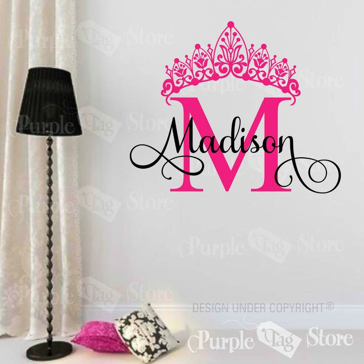 ==> [Free Shipping] Buy Best ZN G067 Princess Custom Name Monogram Initial Crown Vinyl Wall Room Decal Sticker Dormitory wall stickers decorative Online with LOWEST Price | 32738588162