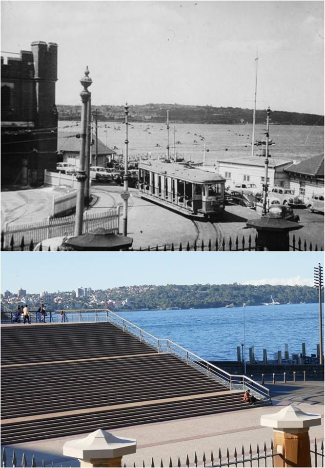 Bennelong Point, featuring the fort tramshed, tram, old cars and sydney harbour 1953<<<>>>2016 View of the Opera House steps from the Tarpeian Way steps. [City of Sydney Archives > Kevin Sundgren. By Kevin Sundgren]