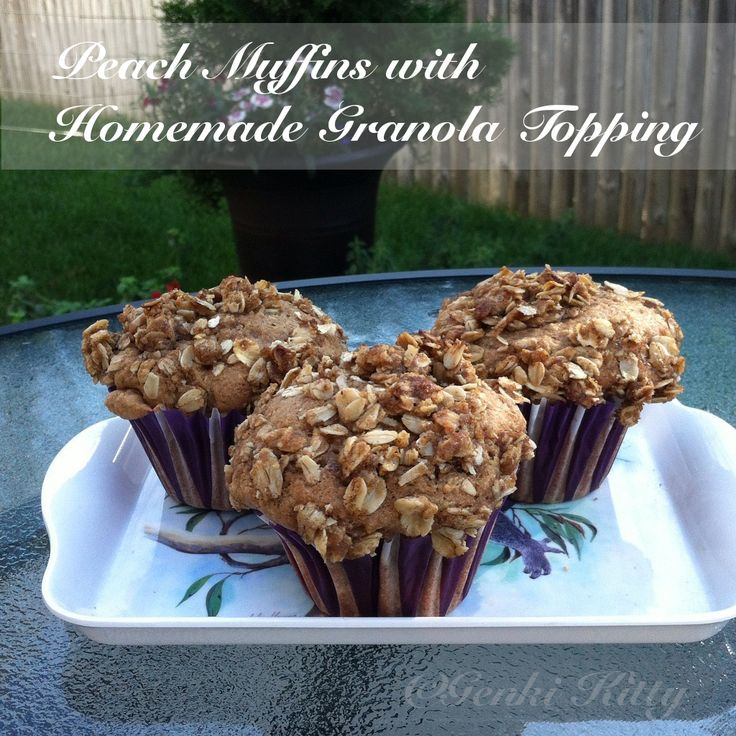 Vegan Peach Muffins with Granola Topping Recipe
