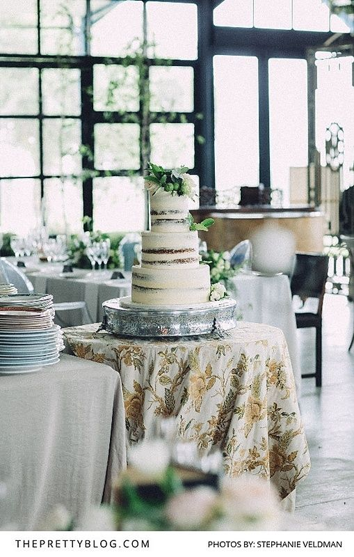 White Simple, Modern Wedding Cake with Greenery   Photography by Stephanie Veldman   Cake by The Birdcage