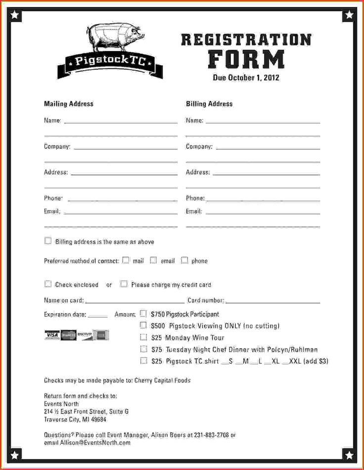 Excel Registration Template 10 Printable Registration Form Templates