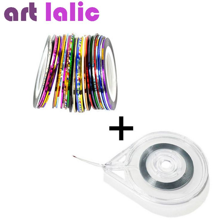 30 Rolls + 1 Case Gemengde Kleuren Rolls Striping Tape Lijn DIY Nail Art Tips Decoratie Sticker Nail Art Metallic garens strips