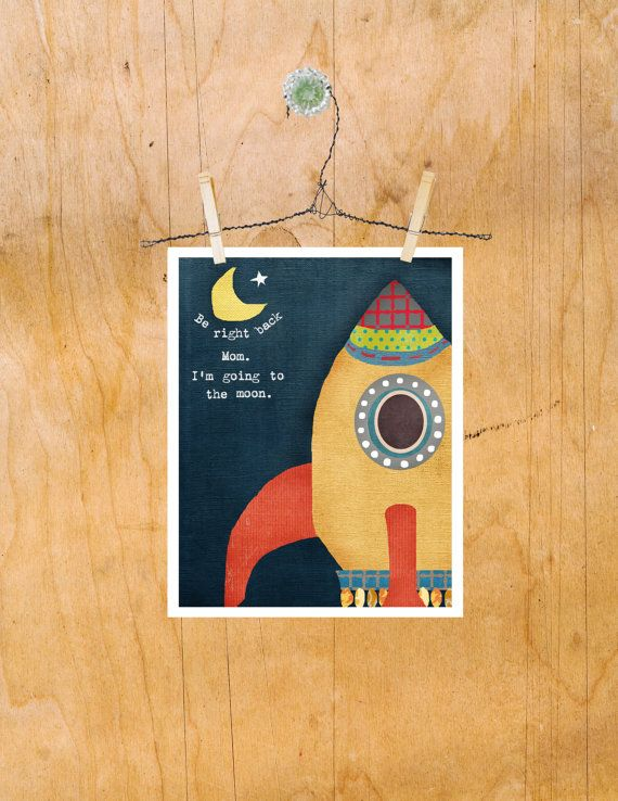 Children's Wall Art Print Rocketship Moon Boy Nursery by LilyCole, $13.00
