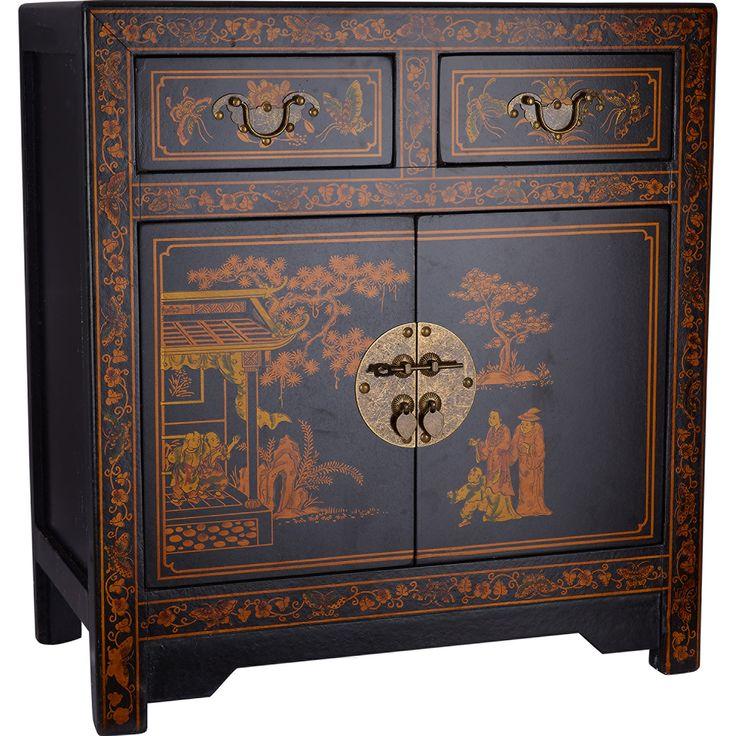 Black Oriental Bedside Cabinet - TK Maxx