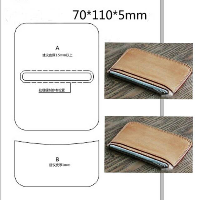Photo of DIY leather crafts zipper simple coin purse cutting knife die template sewing pattern hand punch tool