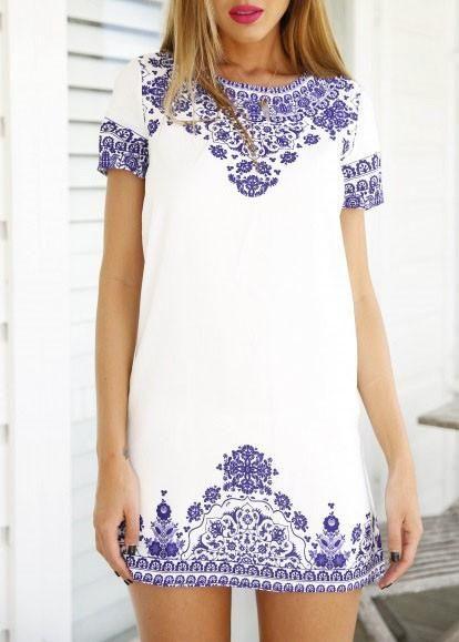summer dress, short sleeve dress, vintage print dress, white and blue dress - Crystalline