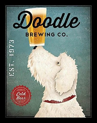 'White Labradoodle Brewing Company' by Ryan Fowler Framed Vintage Advertisement