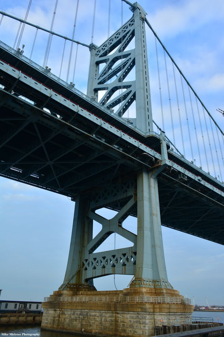 Ben franklin bridge on the philly side delaware river