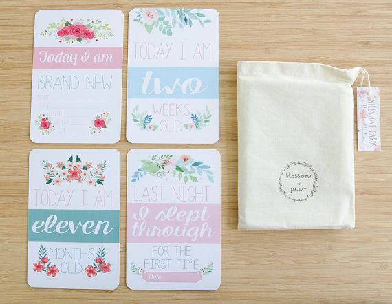 Moments and Milestone Cards Baby Girl Floral by BlossomAndPear