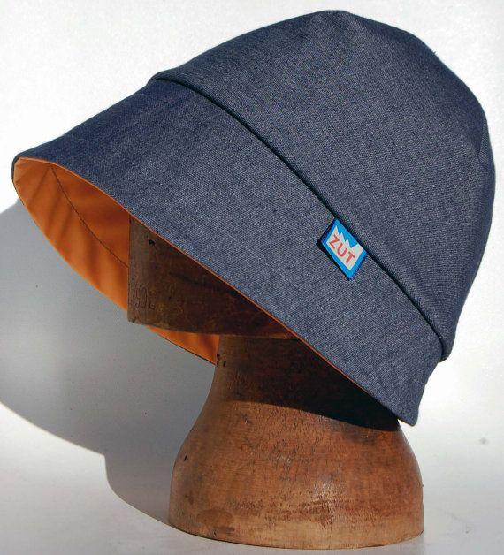 New 2 piece minimal denim cloche rain hat  7f54f5d4ef7