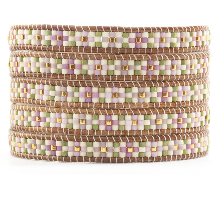 Chan Luu - Pink Mix Beaded Wrap Bracelet on Natural Brown Leather, $210.00 (http://www.chanluu.com/wrap-bracelets/pink-mix-beaded-wrap-bracelet-on-natural-brown-leather/)
