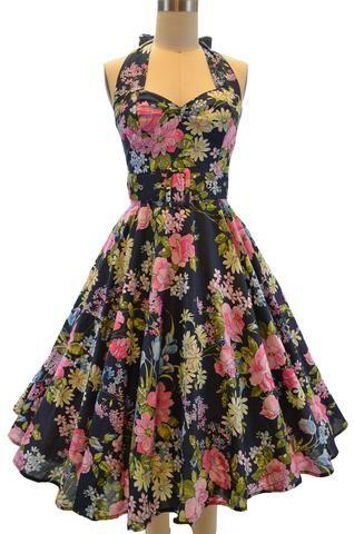 belted fit-n-flare halter sun dress - navy floral