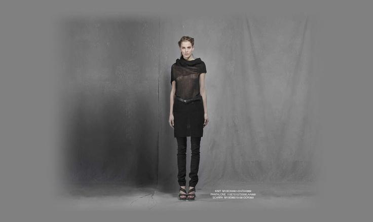 Malloni black collection S13 #knit #slacks #belt #shoes