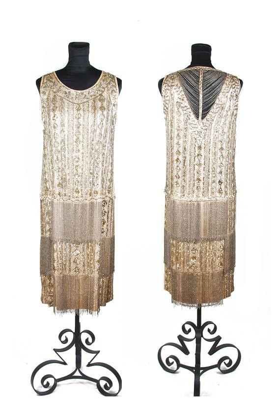 1920s Dress // Beaded Sequin and Rhinestone Encrusted Fringe Art Deco Flapper Dress