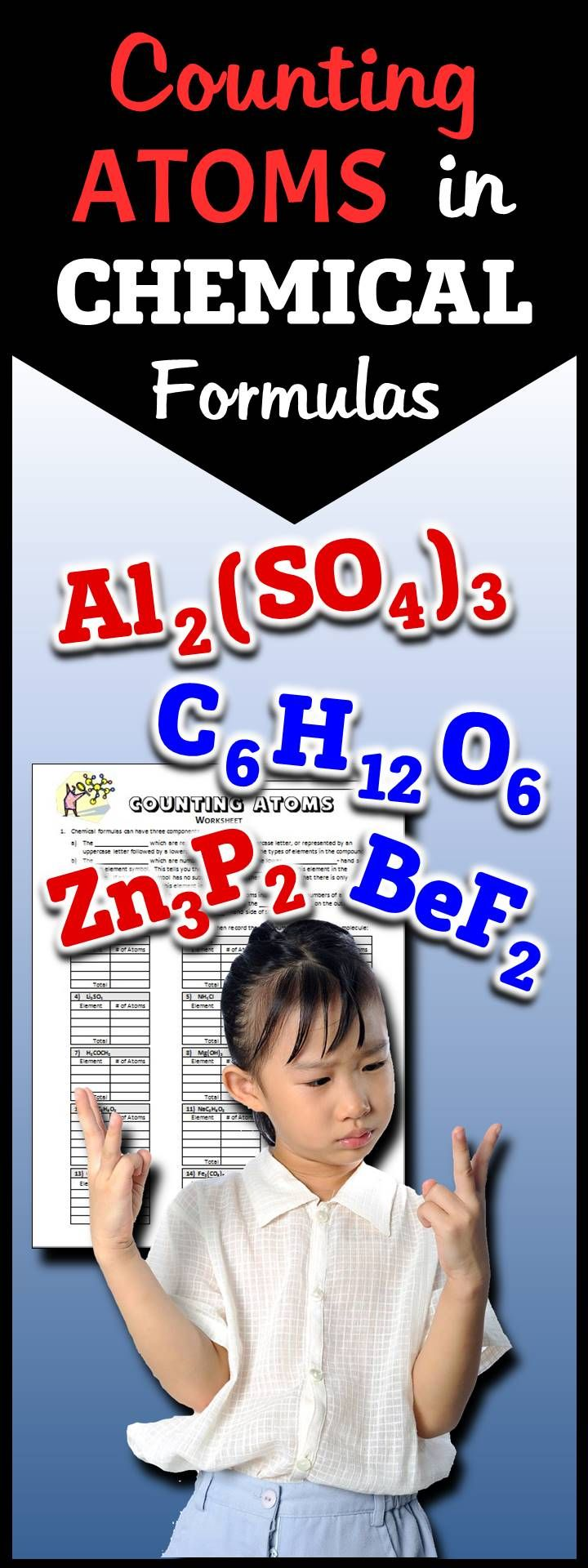 Gr.6-12. This one page, no-prep printable will help students learn how to count the number of atoms in a chemical formula.  In less than 30 minutes your whole class will be able to do it.  It just works.