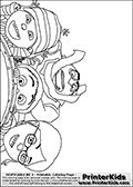 Coloring page with Gru, Margo, Edith and Agnes from Despicable Me and Despicable Me 2. This coloring page for printing show Gru sitting behind the three girst in a rollercoaster. Print and color this Despicable Me page that is drawn by Loke Hansen (http://www.LokeHansen.com) based on an image found online from one of the two movies.