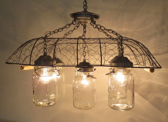 337 best diy images on pinterest woodworking pipes and galvanized love this chicken wire and canning jar light mozeypictures Choice Image