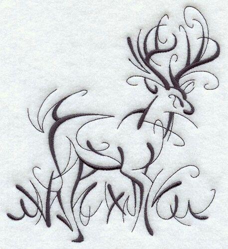 Deer stag line drawing