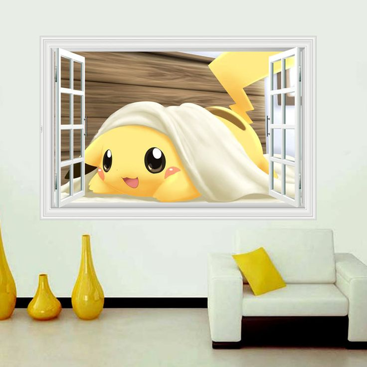 Cute Pikachu window Wall Stickers for Kids Rooms Home Decorations Pokemon Wall Decal Amination Poster Wall Art  Wallpaper ** Visit the image link for more details. #HomeDecor