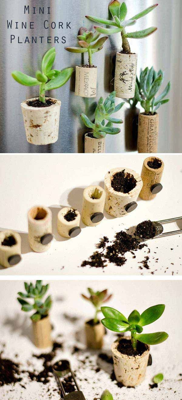 3. Create tiny vases from old wine corks to decorate your fridge.
