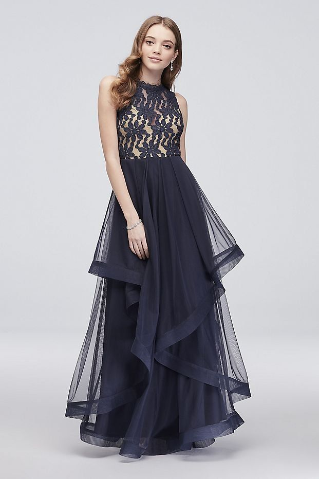Cascading Glitter Lace Prom Dress with Horsehair Trim | David\'s ...