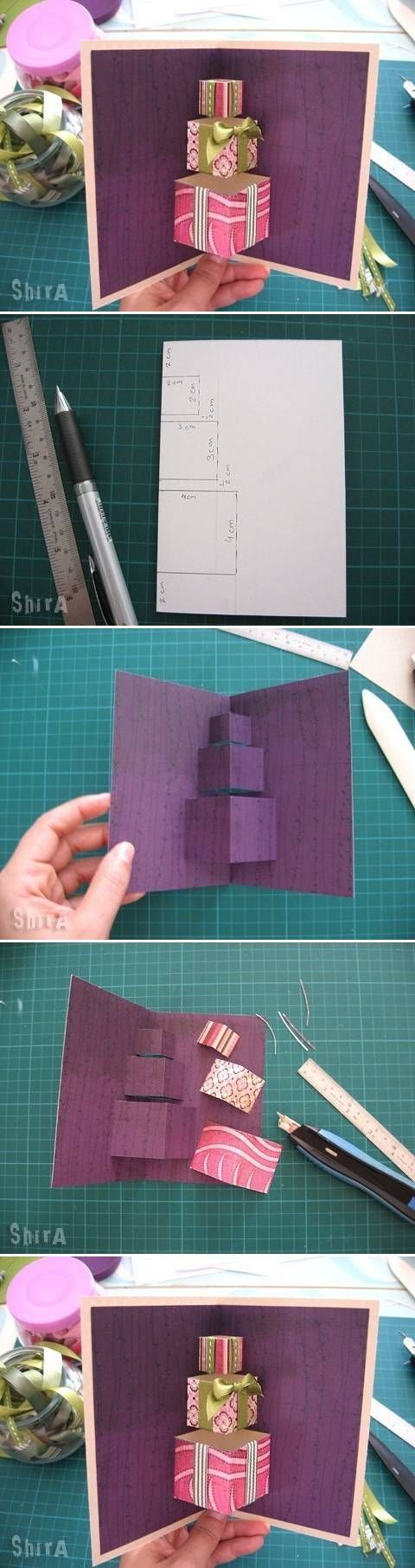 card making photo tutorial ... stacked present pop-up ... basic centerfold pop-up ... fun card with purple base ...
