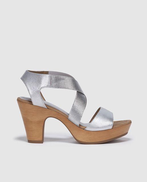 Sandalias de tacón de mujer Unisa de piel plateadas