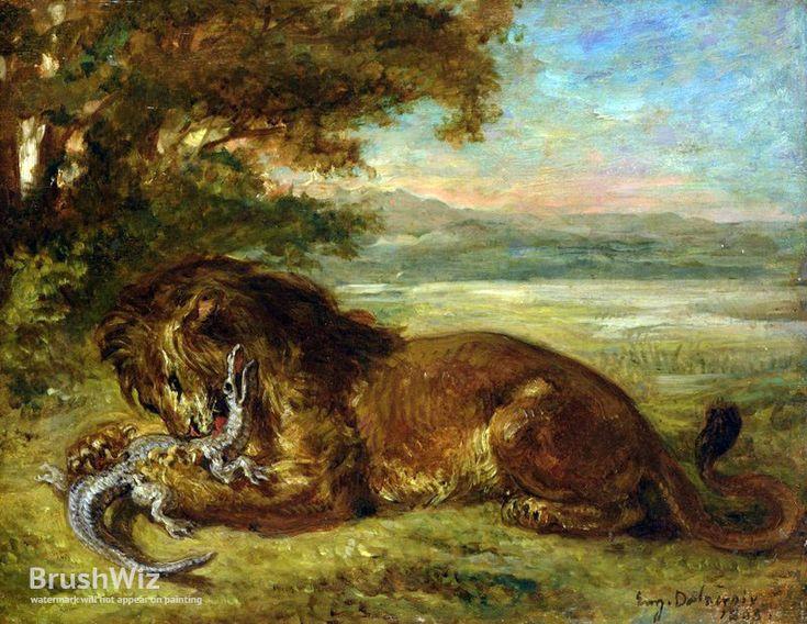 Lion And Alligator by Eugene Delacroix - Oil Painting Reproduction - BrushWiz.com