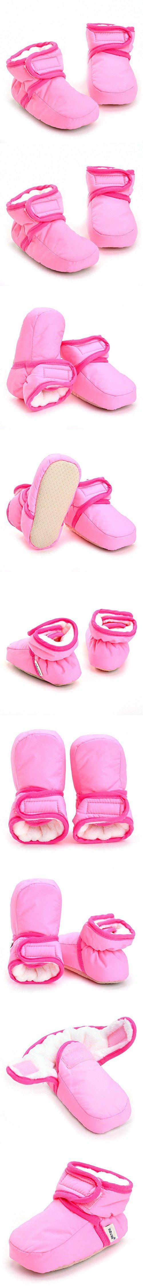 Enteer Infant Waterproof Snow Boots Premium Soft Sole Anti-Slip Warm Winter Prewalker Toddler Boots (3-6months, pink)