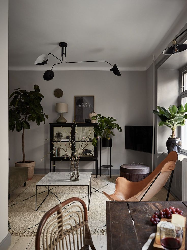 Stylish and cozy home with dark walls