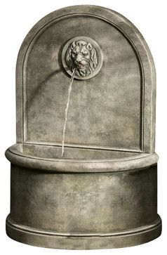Lion Wall Garden Water Fountain, Natural traditional-outdoor-fountains