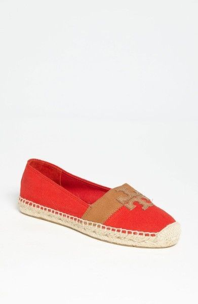New Tory Burch Womens Red Weston Espadrille Slip on Canvas Ballet Flats