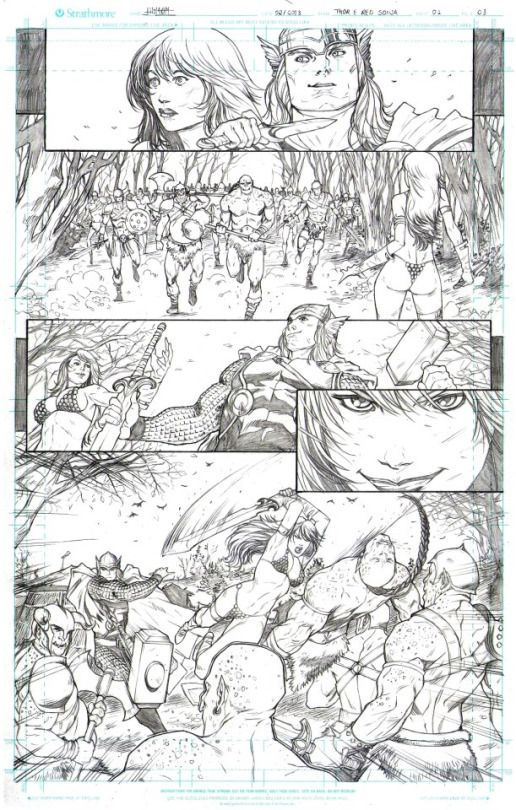 Page sample Thor Red Sonja  by Wilton Santos