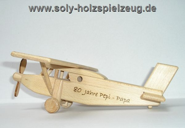 Flugzeug Spielzeug aus Holz Pilatus