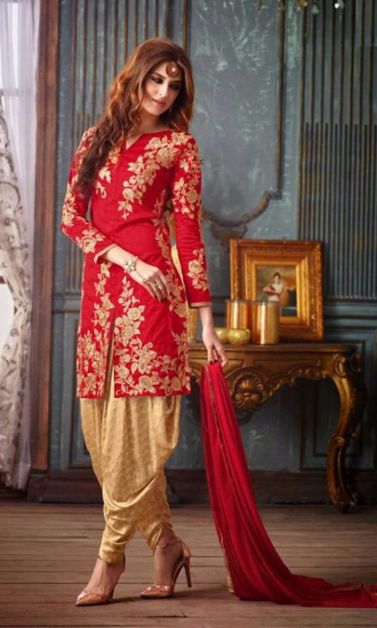 Red Coloured Banglori Silk Embroidered Semi Stitched Party Wear Designer Patiala Dress