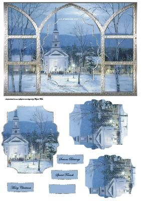 Evening church view through my window on Craftsuprint designed by Angela Wake - Evening church view through my window card with shaped pyramid layers - Now available for download!