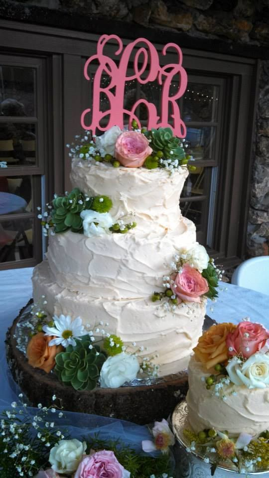 wedding cakes los angeles prices%0A Rustic Wedding Cake  Monogrammed cake topper
