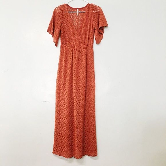 Burt Orange sheer lace dress small maxi Gently worn, great condition size small(dress size 2,4) Solemo Dresses Maxi