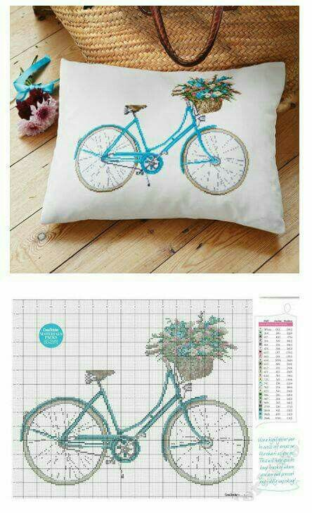 Cross stitch bicycle etamin bisiklet