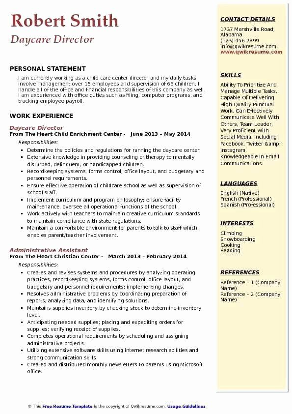 Child Care Director Resume Best Of Job Description Inspirational Daycare Childcare Skills Personal Statement For Worker