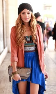 i love this outfit.: Head Scarfs, Boho Chic, Head Wraps, Color, Blue Skirts, Turban, Outfit, The Dresses, High Low