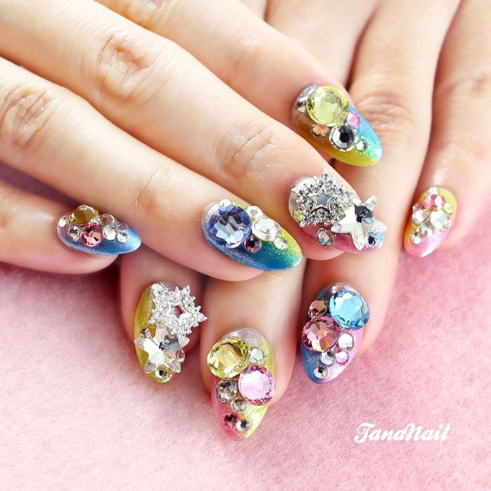 3d-nail-art-colorful-metallic-rainbow-japanese-3d-nail-art