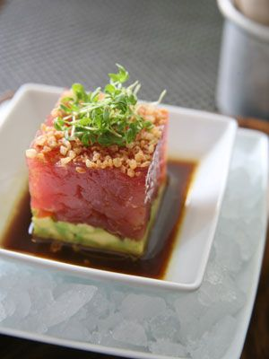 Tuna Tartare with Avocado and Soy Dressing.