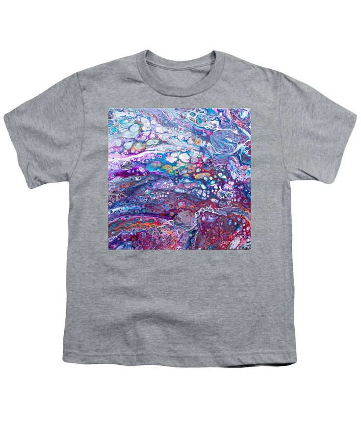 Vibrant Fun Dynamic-pattern Moving Rainbow Colorful-orbs Contemporary Fluid-art Flow-art Youth T-Shirt featuring the painting #694 Aromatic Rainbow by Expressionistart studio Priscilla Batzell