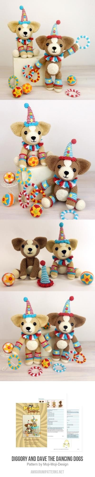 Diggory And Dave The Dancing Dogs Amigurumi Pattern